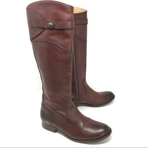 Frye Molly Button Riding Boots Redwood Brown NEW